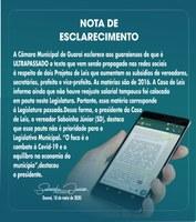 Câmara de Guaraí esclarece sobre texto divulgado em redes sociais